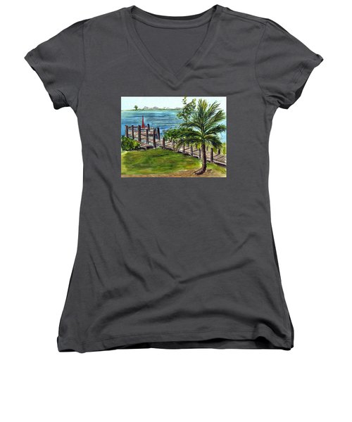 Cudjoe Dock Women's V-Neck T-Shirt (Junior Cut)