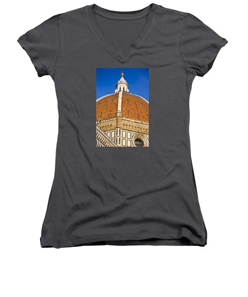 Cupola On Florence Duomo Women's V-Neck T-Shirt (Junior Cut) by Liz Leyden