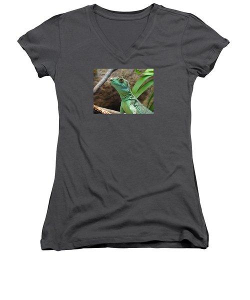Women's V-Neck T-Shirt (Junior Cut) featuring the photograph Curious Gaze by Lingfai Leung