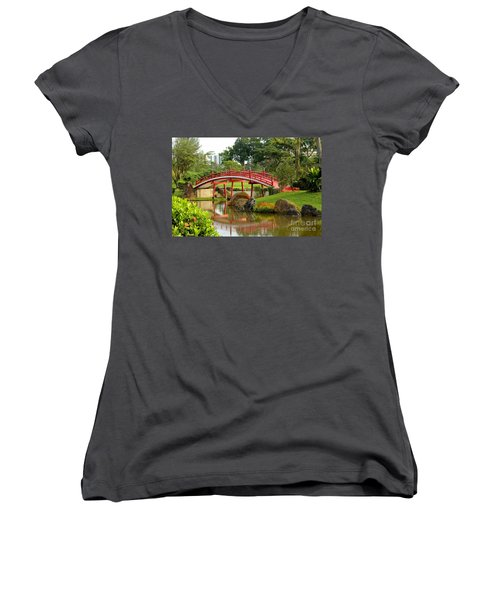 Curved Red Japanese Bridge And Stream Chinese Gardens Singapore Women's V-Neck T-Shirt (Junior Cut) by Imran Ahmed