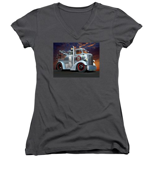 Women's V-Neck T-Shirt (Junior Cut) featuring the digital art Custom Coe Tow Truck by Stuart Swartz