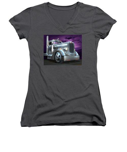Women's V-Neck T-Shirt (Junior Cut) featuring the digital art Custom Peterbilt Silver Ghost by Stuart Swartz