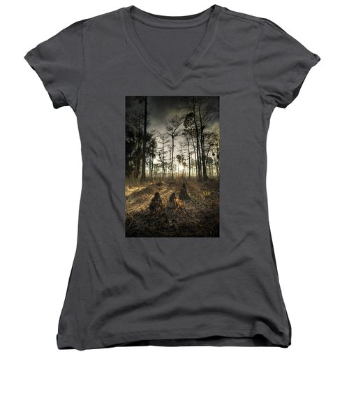 Cypress Stumps And Sunset Fire Women's V-Neck T-Shirt