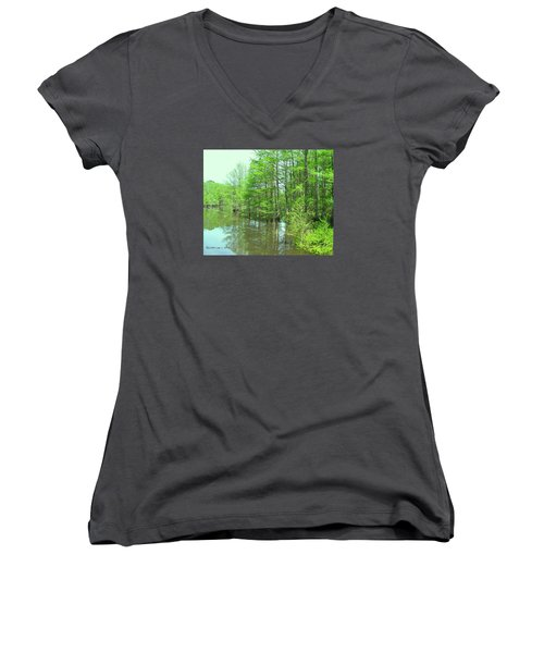 Women's V-Neck T-Shirt (Junior Cut) featuring the photograph Bright Green Cypress Trees Reflection by Belinda Lee