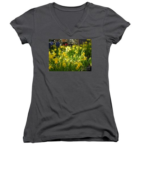 Daffidoils Women's V-Neck T-Shirt (Junior Cut) by Kim Prowse