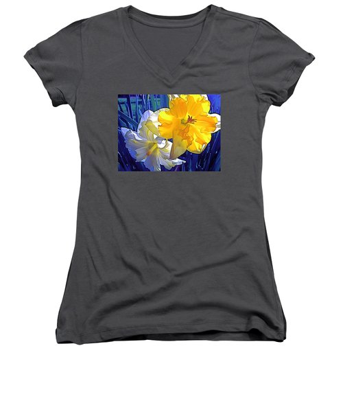 Women's V-Neck T-Shirt (Junior Cut) featuring the photograph Daffodils 1 by Pamela Cooper