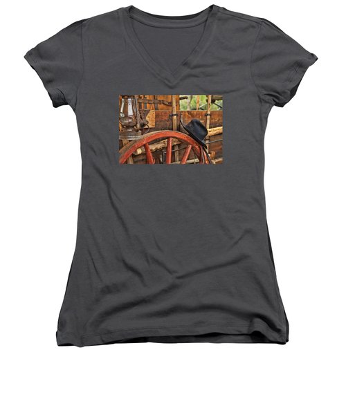Women's V-Neck T-Shirt (Junior Cut) featuring the photograph Dagnabbit Where Is My Hat by Toni Hopper