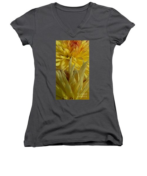 Dahlia Dew Yellow Women's V-Neck T-Shirt (Junior Cut) by Susan Garren