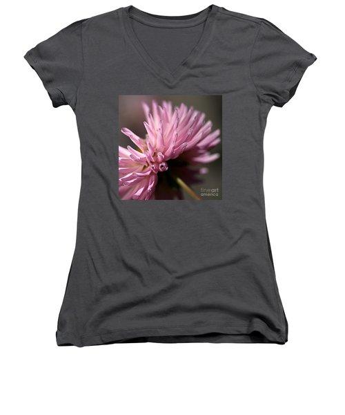 Women's V-Neck T-Shirt (Junior Cut) featuring the photograph Dahlia by Joy Watson