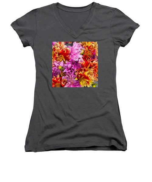 Dahlia Swirl Women's V-Neck T-Shirt