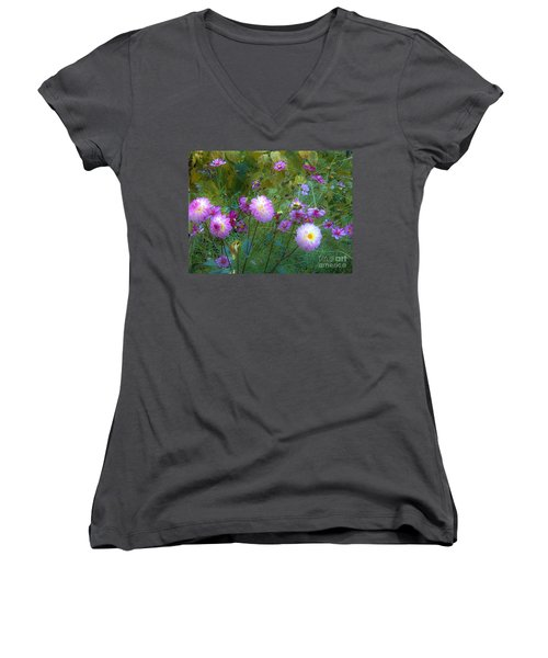 Women's V-Neck T-Shirt (Junior Cut) featuring the photograph Dahlias And Cosmos  by Judy Via-Wolff