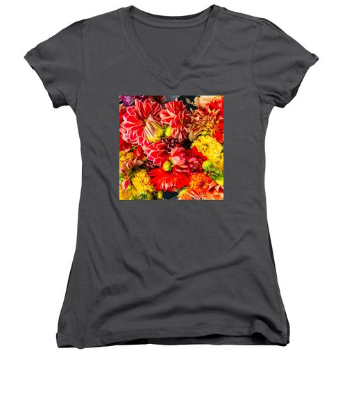 Dahlias Summer Color Women's V-Neck T-Shirt