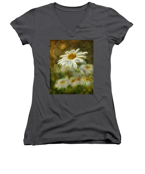 Daisies ... Again - P11at01 Women's V-Neck T-Shirt (Junior Cut) by Variance Collections