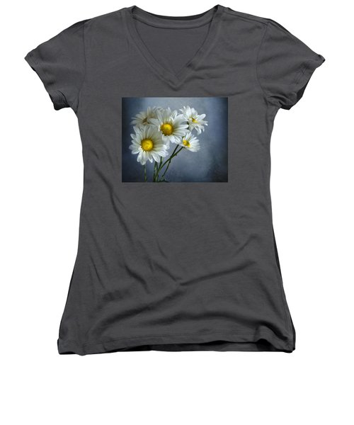 Women's V-Neck T-Shirt (Junior Cut) featuring the photograph Daisy Bouquet by Ann Lauwers