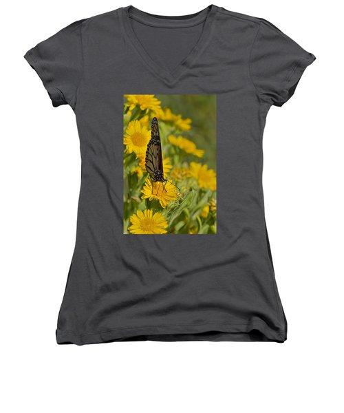 Women's V-Neck T-Shirt (Junior Cut) featuring the photograph Daisy Daisy Give Me Your Anther Do by Gary Holmes