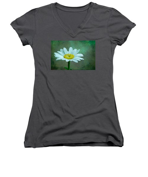 Daisy In The Rain Women's V-Neck (Athletic Fit)