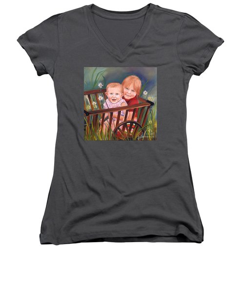 Daisy - Portrait - Girls In Wagon Women's V-Neck (Athletic Fit)