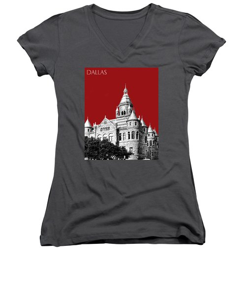 Dallas Skyline Old Red Courthouse - Dark Red Women's V-Neck T-Shirt