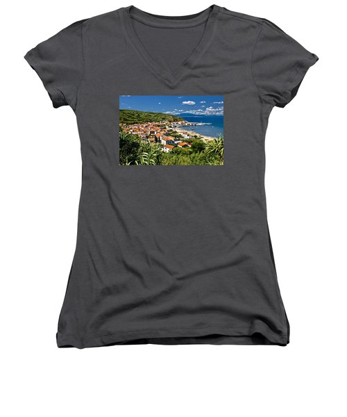 Dalmatian Island Of Susak Village And Harbor Women's V-Neck T-Shirt (Junior Cut) by Brch Photography