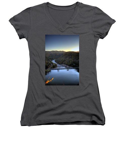 Women's V-Neck T-Shirt (Junior Cut) featuring the photograph Dam Across The River by Jonny D