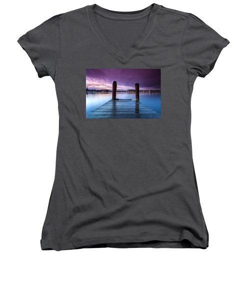 Damp Sunset Women's V-Neck T-Shirt