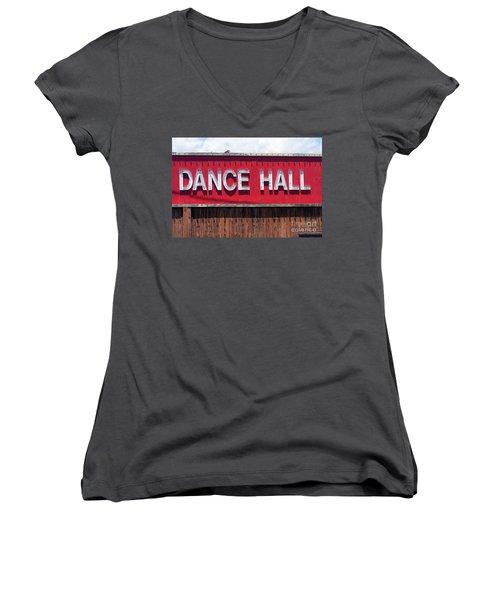Women's V-Neck T-Shirt (Junior Cut) featuring the photograph Dance Hall Sign by Gunter Nezhoda