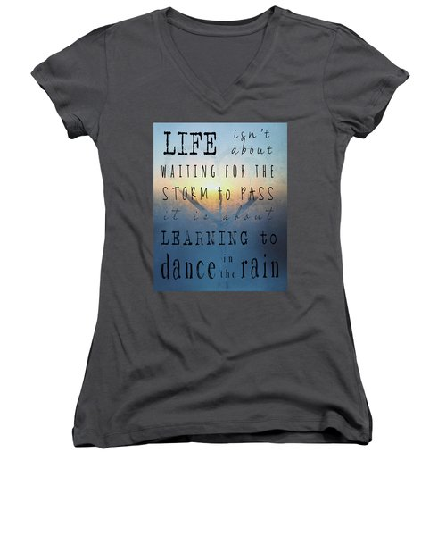 Dance In The Rain  Women's V-Neck T-Shirt