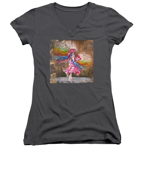 Dance Through The Color Of Life Women's V-Neck (Athletic Fit)