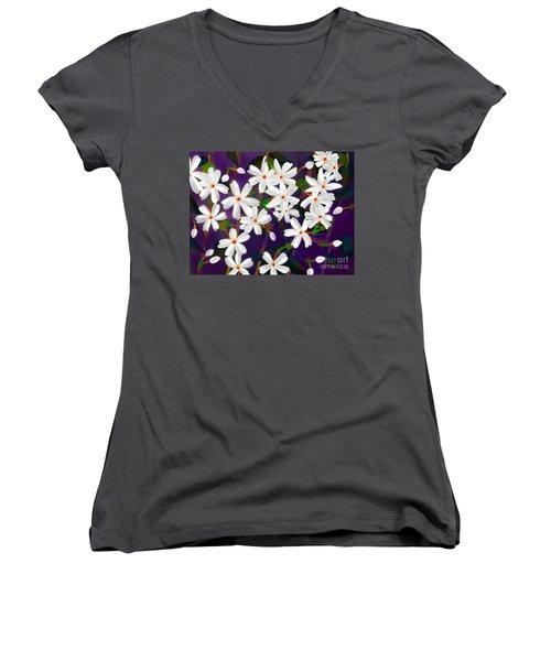 Dancing Coral Jasmines Women's V-Neck T-Shirt (Junior Cut) by Latha Gokuldas Panicker