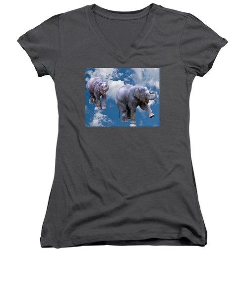 Dancing Elephants Women's V-Neck T-Shirt