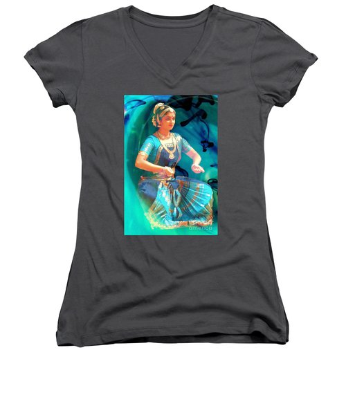 Dancing Girl With Gold Necklace Women's V-Neck T-Shirt (Junior Cut) by Janette Boyd