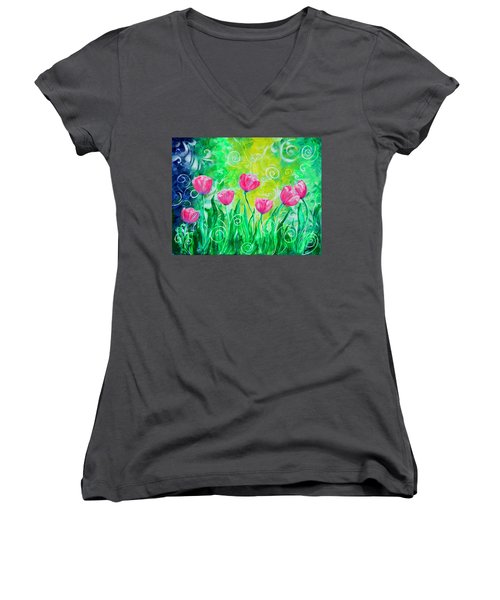 Dancing Tulips Women's V-Neck (Athletic Fit)