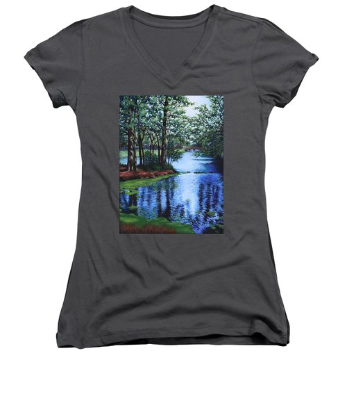 Dancing Waters Women's V-Neck T-Shirt (Junior Cut) by Penny Birch-Williams