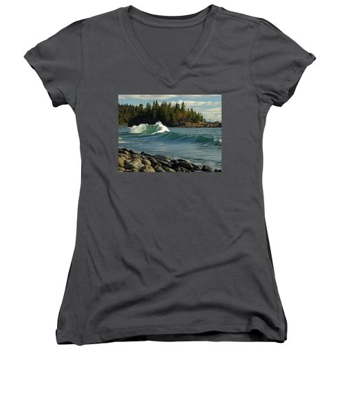Women's V-Neck T-Shirt (Junior Cut) featuring the photograph Dancing Waves by James Peterson