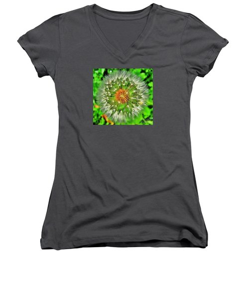 Women's V-Neck T-Shirt (Junior Cut) featuring the photograph Dandelion Circle by John King