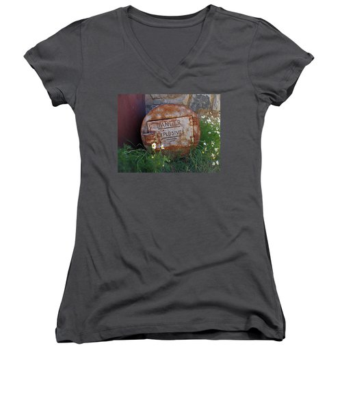Danger Explosives Women's V-Neck T-Shirt (Junior Cut) by David Pantuso