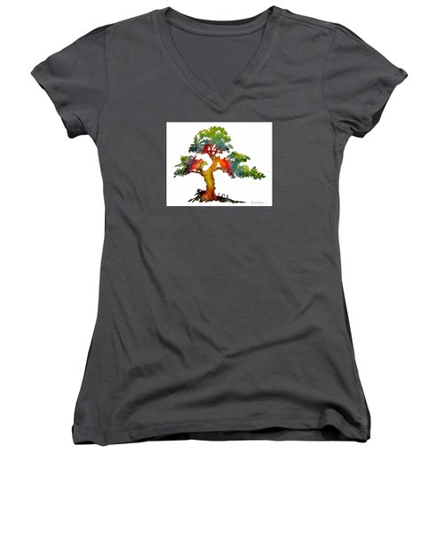 Da140 Rainbow Tree Daniel Adams Women's V-Neck (Athletic Fit)