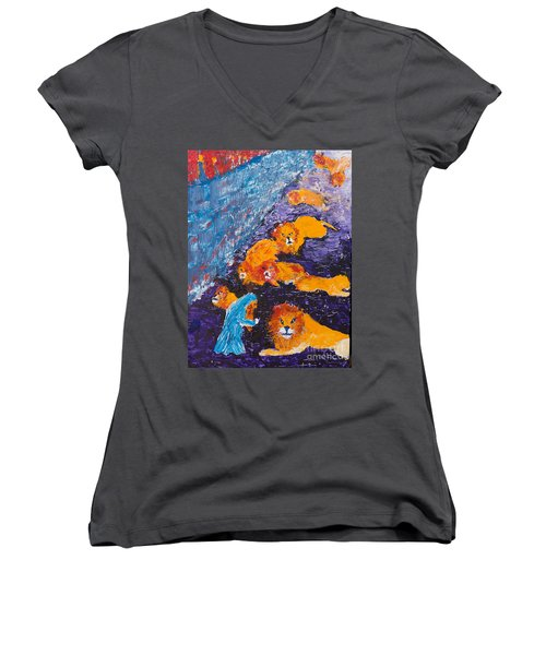 Daniel And The Lions Women's V-Neck (Athletic Fit)