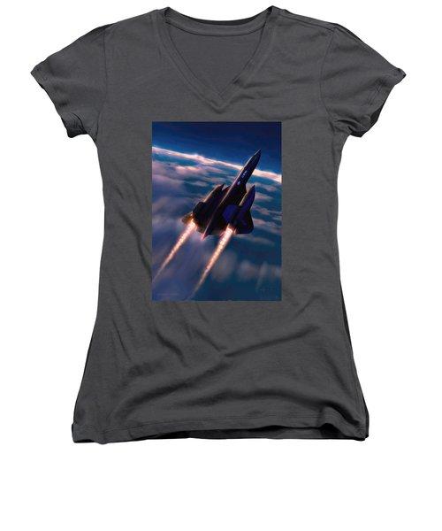 Dark Angel Women's V-Neck T-Shirt (Junior Cut) by Dave Luebbert