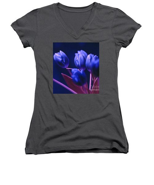 Dark Blue Tulips Women's V-Neck