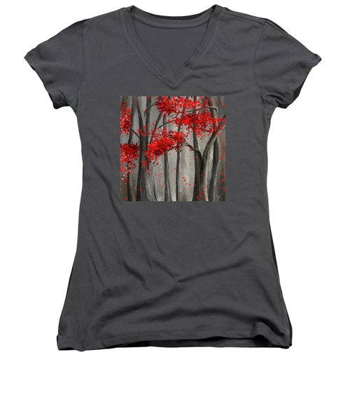 Dark Passion- Red And Gray Art Women's V-Neck T-Shirt