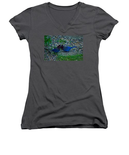 Darling I Have To Tell You A Secret-sweet Stellar Jay Couple Women's V-Neck (Athletic Fit)