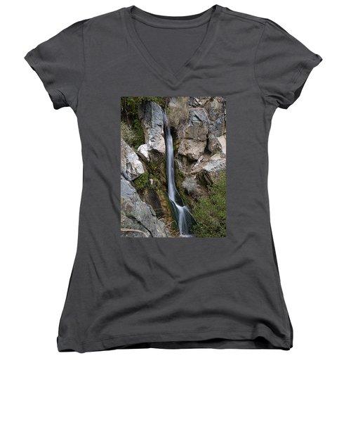Darwin Falls Women's V-Neck T-Shirt (Junior Cut) by Joe Schofield