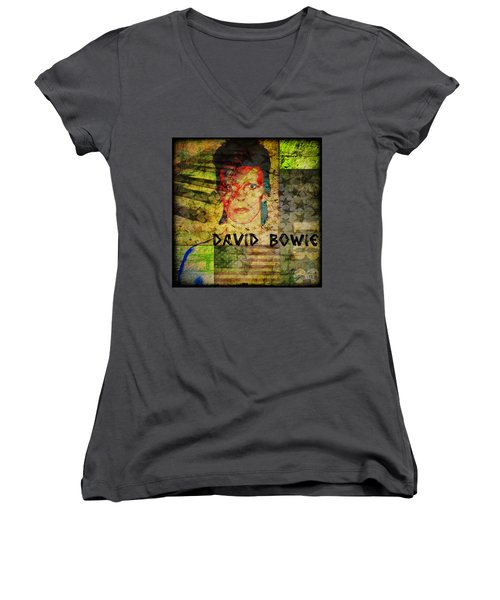 David Bowie Women's V-Neck T-Shirt (Junior Cut) by Absinthe Art By Michelle LeAnn Scott