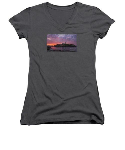Dawn At The Nubble Women's V-Neck T-Shirt (Junior Cut) by Steven Ralser