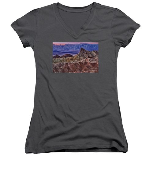 Women's V-Neck T-Shirt (Junior Cut) featuring the photograph Dawn At Zabriskie Point by Jerry Fornarotto