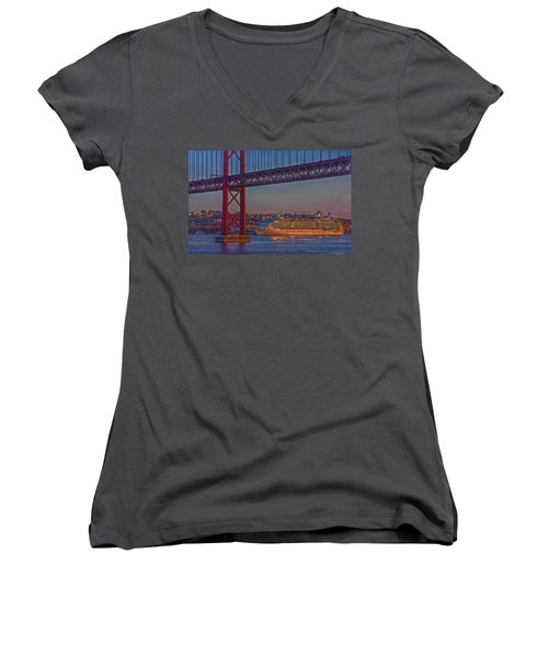 Dawn On The Harbor Women's V-Neck T-Shirt (Junior Cut) by Hanny Heim