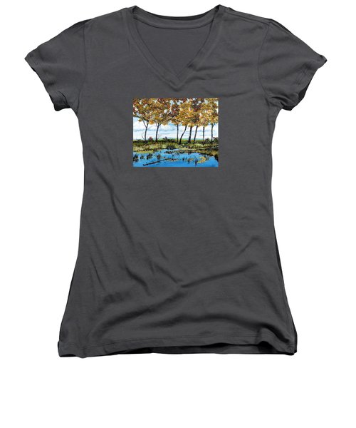 Dawn's Blue Waters Edge  Women's V-Neck (Athletic Fit)