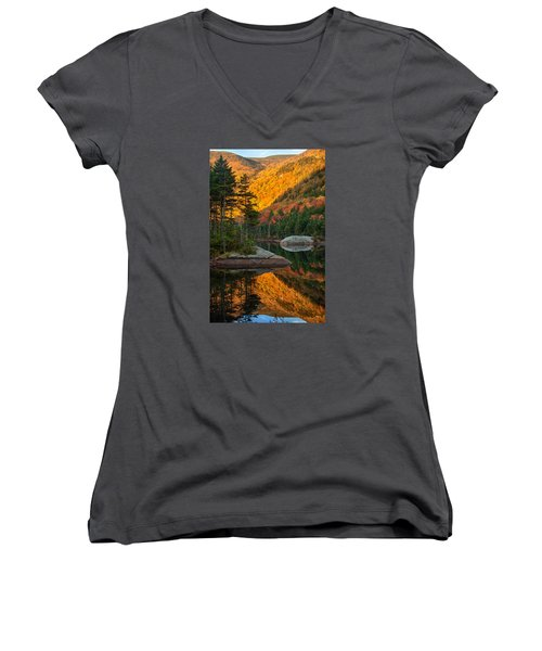 Women's V-Neck T-Shirt (Junior Cut) featuring the photograph Dawns Foliage Reflection by Jeff Folger
