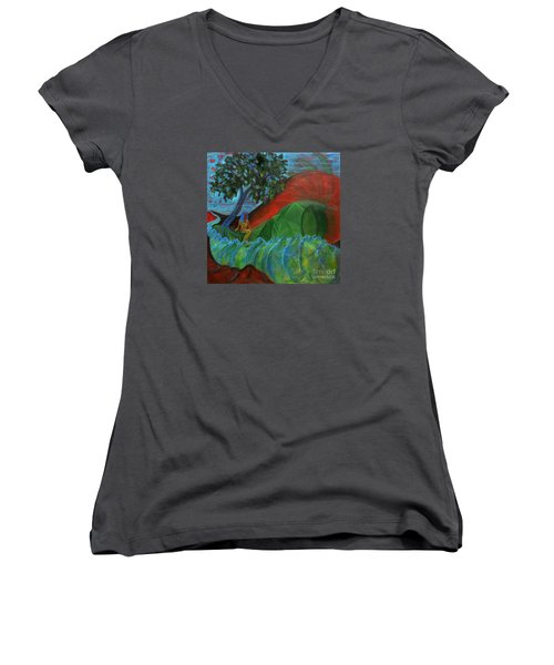 Uncertain Journey Women's V-Neck T-Shirt (Junior Cut) by Elizabeth Fontaine-Barr